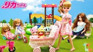 リカちゃん 新みつごのあかちゃん ベビーカー お散歩 / Licca-chan Baby Carriage Stroller Triplet Babies