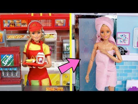 Barbie Twins School Night Routine - Working Mc Donalds Drive Thru & New Boyfriend!