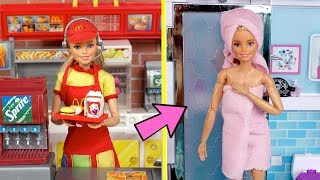 Barbie Twins School Night Routine - Working Mc Donalds Drive Thru & New Boyfriend!