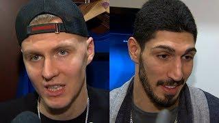 Knicks' Kristaps Porzingis and Enes Kanter react to Kristap's ankle injury and return | ESPN