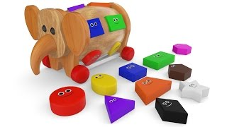 Learn Colors & Shapes With Elephant Wooden Toy Animal For Children Toddlers Education Video