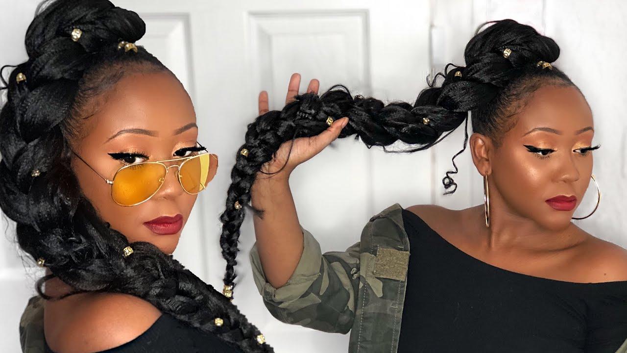 how to jumbo braid goddess ponytail tutorial natural hair