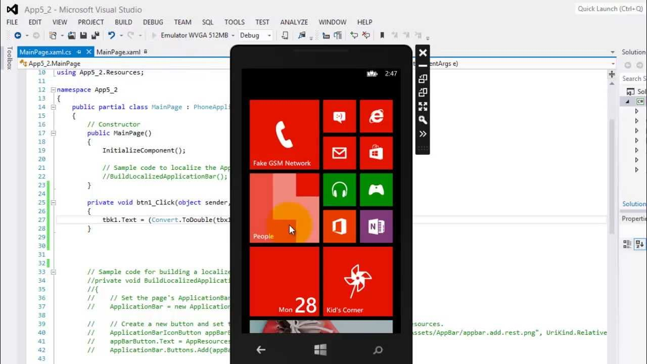 Tutorial for WP8 - Tutorial for WP8 - 05-XAML and Code Behind for Windows  Phone 8 App Development