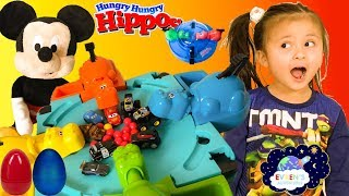 HASBRO HUNGRY HIPPOS eats Disney Cars Hot Wheels Monster Jam Trucks Surprise Eggs Toys Review