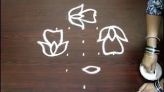 Video flower kolam with 7 to 1 interlaced dots- chukkala muggulu designs with dots- simple rangoli designs download MP3, 3GP, MP4, WEBM, AVI, FLV Juli 2018