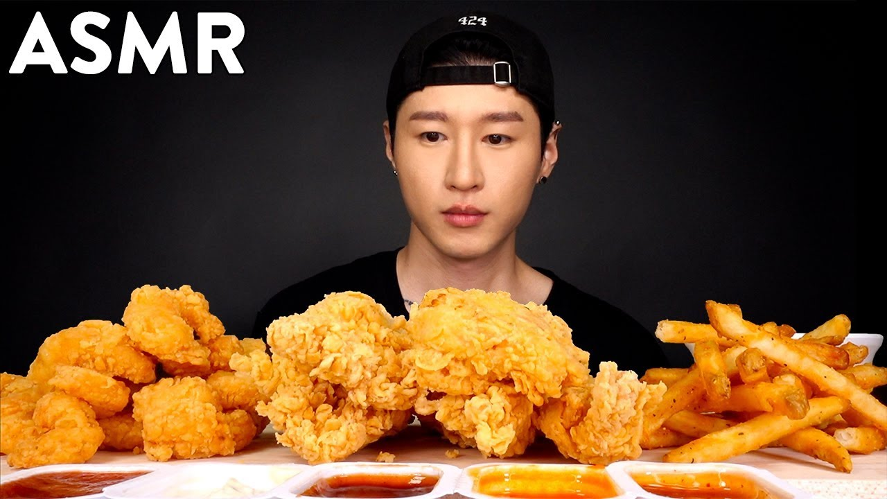 Asmr Popeyes Chicken Tenders Popcorn Shrimp Mukbang No Talking Eating Sounds Zach Choi Asmr