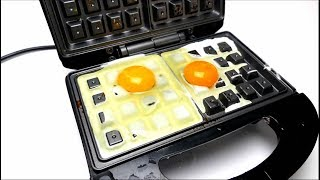 EXPERIMENT WAFFLE IRON vs CANDY and EGGS