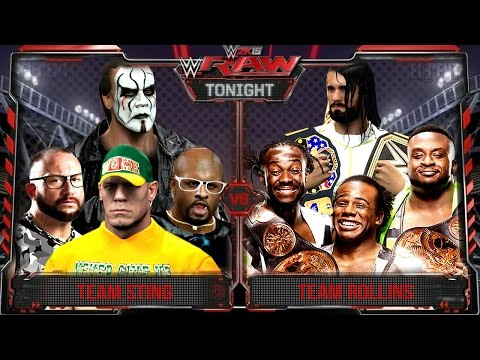 WWE RAW 2K15 : Sting, John Cena & Dudley Boyz Vs Seth Rollins & New Day - 31/08/2015 Guest Booker