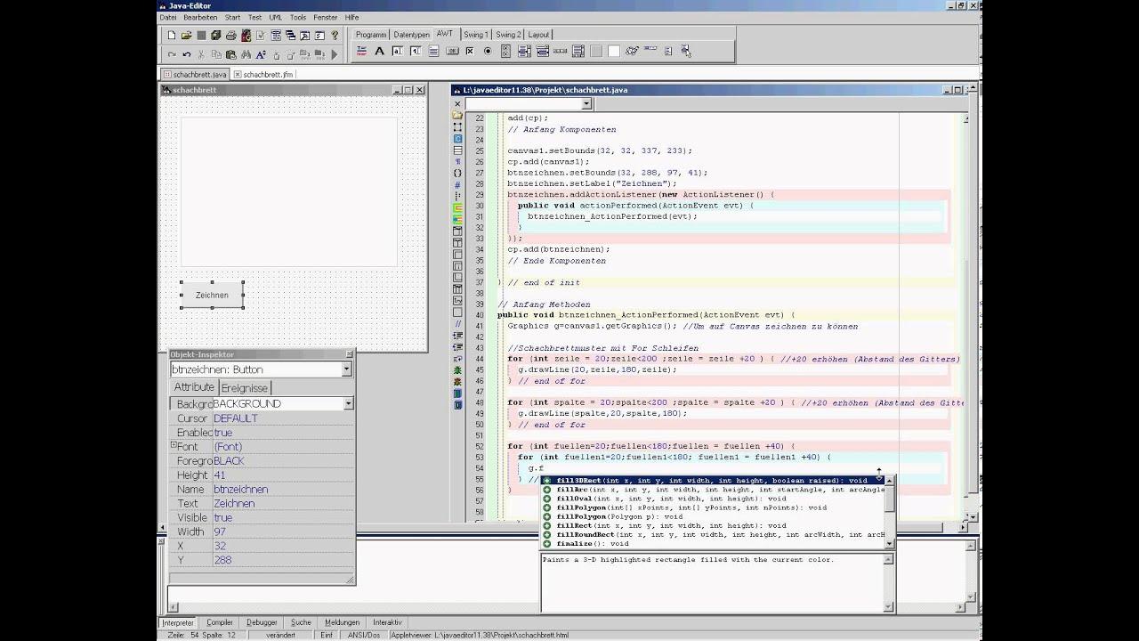 JavaEditor - Schachbrett (2/2) - YouTube