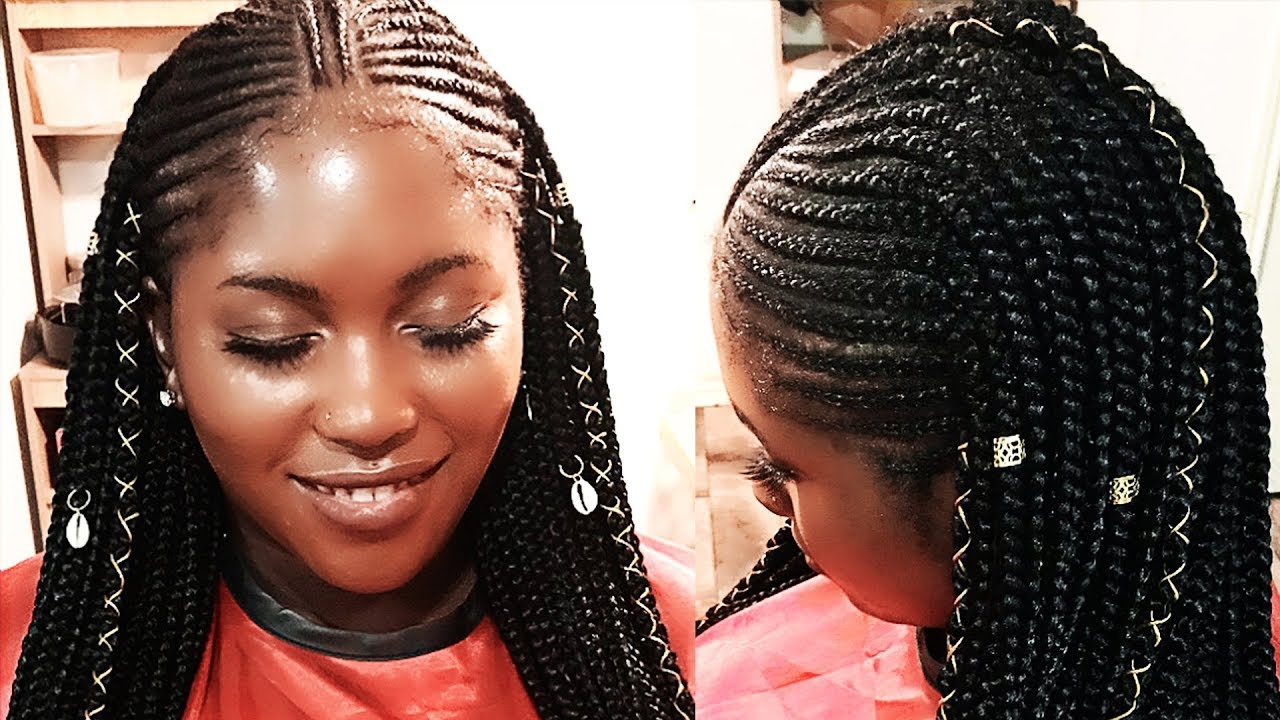 FEED IN BRAIDS WITH BOX BRAIDS