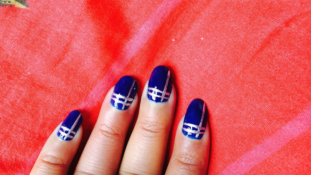 Silver lines nail art in telugu language - YouTube