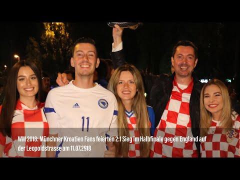 WM 2018: Münchner Kroatien Fans feierten auf der Leopoldstraße nach Halbfinal-Sieg gegen England
