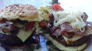 SOUTHWEST BACON CHEESE BURGER ON THE GRILL BY BIG D