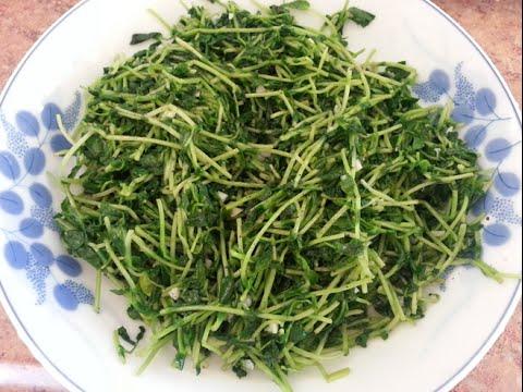 How to cook Asian Vietnamese Sauteed PEA SPROUTS w/ Garlic - Gia Dau Hoa Lan Xao Toi
