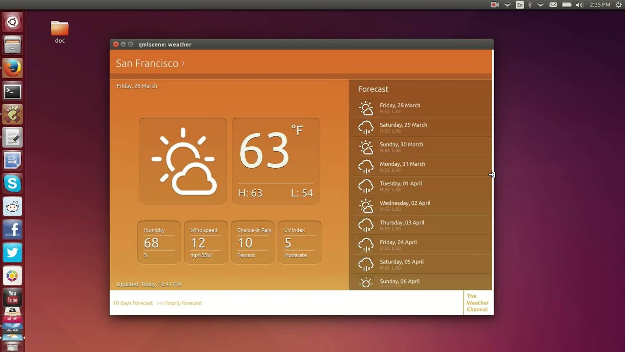 ubuntu app convergence  weather app