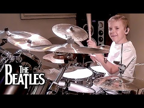 COME TOGETHER - BEATLES (7 year old Drummer) Drum Cover by Avery Drummer