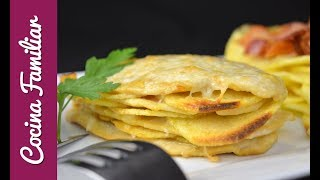 Milhojas de pollo con patatas gratinado con queso l Javier Romero