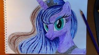How to draw Pony Princess Luna, Como dibujar pony princess Luna, Как нарисовать пони Принцесса Луна