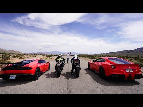STREET RACING SUPERBIKES VS SUPERCARS! *Ferrari, Lamborghini VS Ducati, BMW*