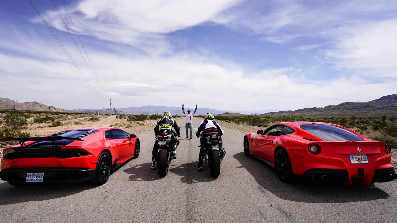 STREET RACING SUPERBIKES VS SUPERCARS! *Ferrari ...