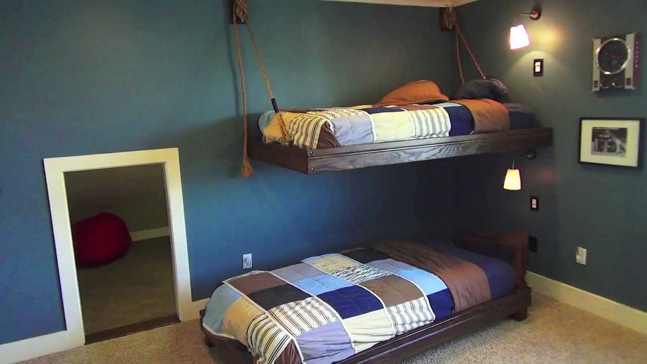 Hanging Nautical Bunk Beds - Boys Bedroom Theme Ideas - YouTube