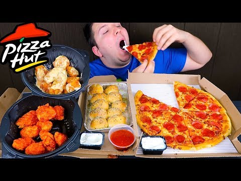 Wings, Garlic Knots, & Pizza • MUKBANG