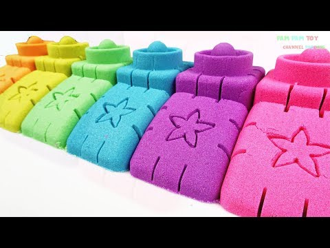 Learn Colors Kinetic Sand Making Colorful Brick - Arts and Crafts for Kids