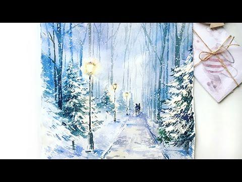 """Видео урок рисования акварелью """"Зима. Вечер. Тишина"""" (Превью)"""