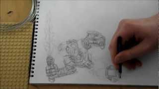 Bionicle Speedpainting Tahu: part 1 pencil drawing
