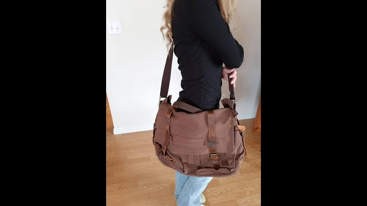 20ce9bd723f Wowbox 17.3 Inch Messenger Bag-Vintage Canvas Leather Satchel- Laptop Bags,Work  Bag