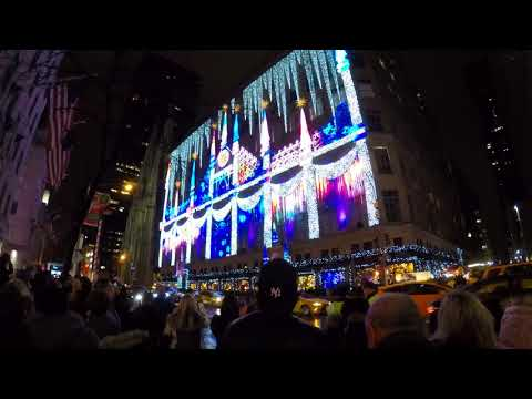 Sak's 5th Avenue Christmas Lights & Times Square - 23rd December 2017