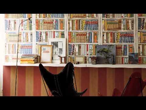 Обои имитирующие книжный шкаф полки