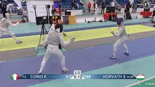 2018 1234 T128 M F Individual Halle GER European Cadet Circuit BLUE CORIO ITA vs HORVATH HUN