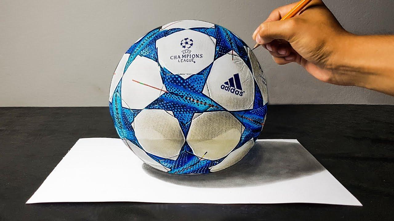 Disegno 3d Di Un Pallone Da Calcio Uefa Champions League Art