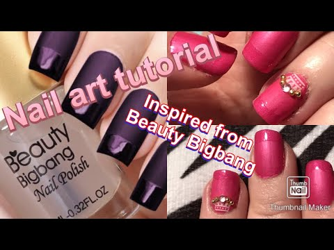 Simple nail art tutorial: Pink nails with unusual French tip/manicure inspired from Beauty Bigbang thumbnail