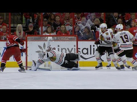 Cam Ward dives for remarkable save on McGinn