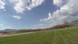 Flying a mini R/C Mig 15 between my legs (low and fast)