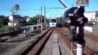 伊豆高原駅を7時26分発の電車 汽笛あり.
