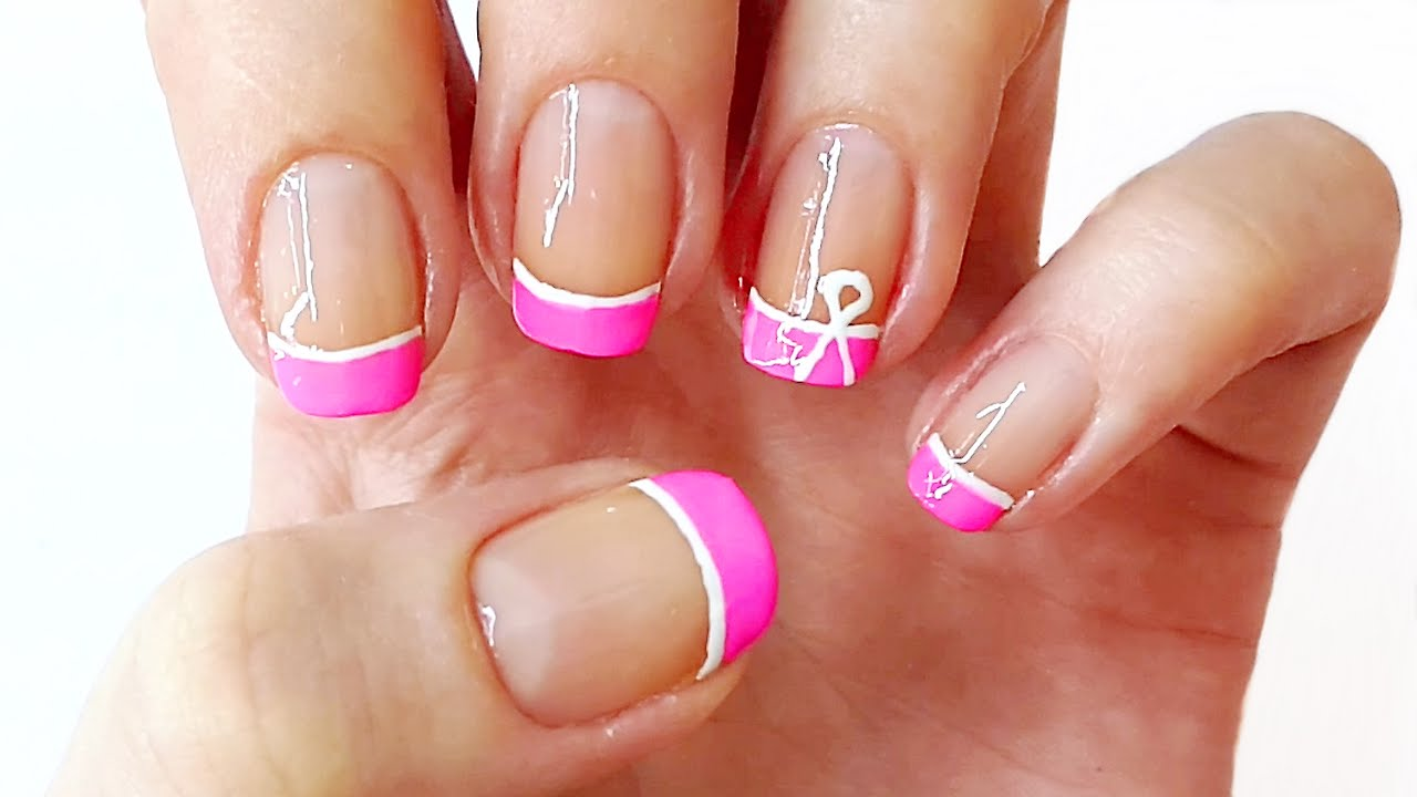 Pink French Manicure / Spring Nail Art - YouTube