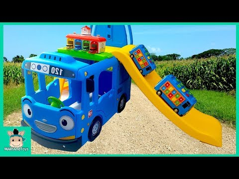 Tayo Bus Car toy videos for kids. Wheels On The Bus and Learn Colors Songs for baby | MariAndToys