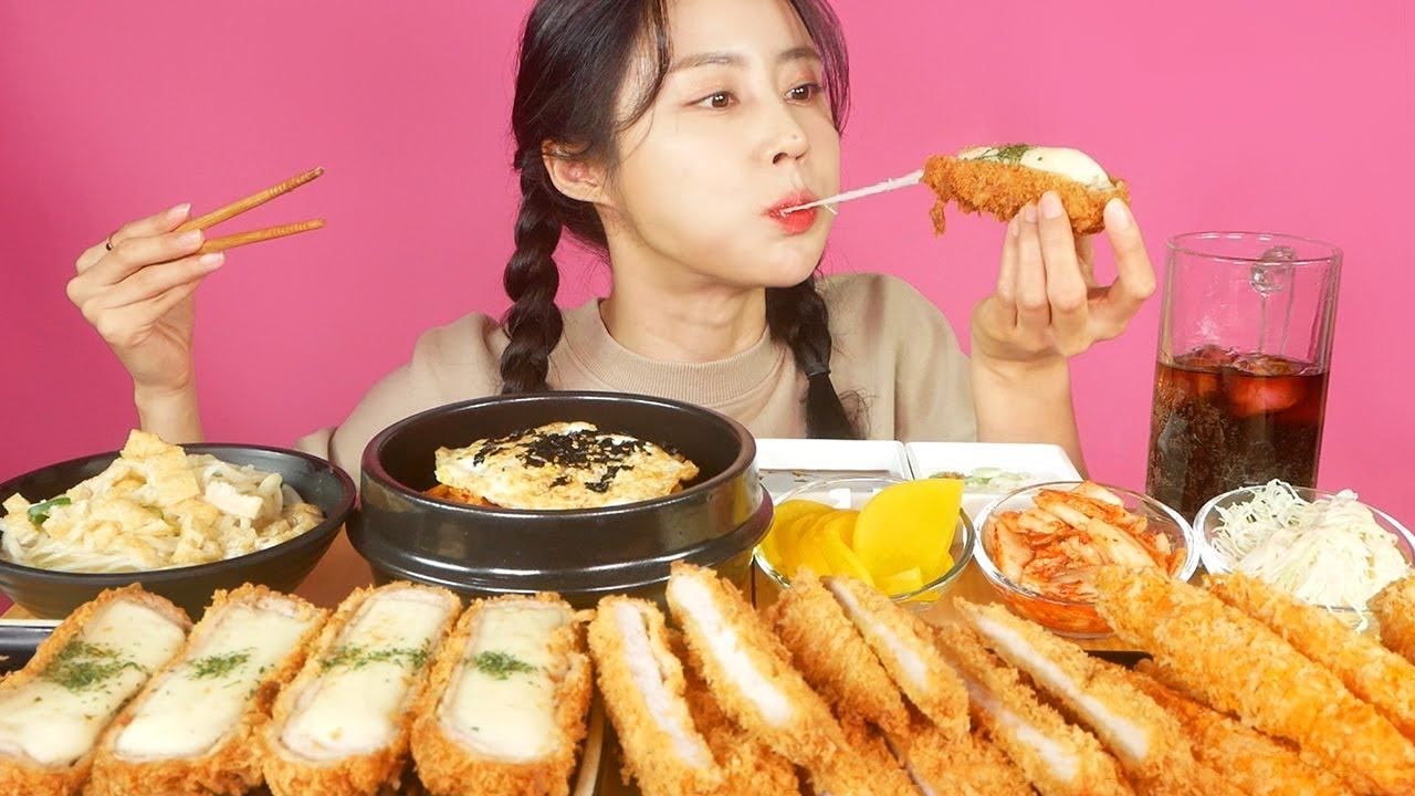 MUKBANG ASMR | Ultimate Combination😍Cheese pork cutlet and Kimchi fried rice Eat Eatingshow 아라 Ara