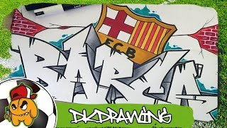 Football Graffiti Tutorials - How to draw a FC Barcelona Graffiti