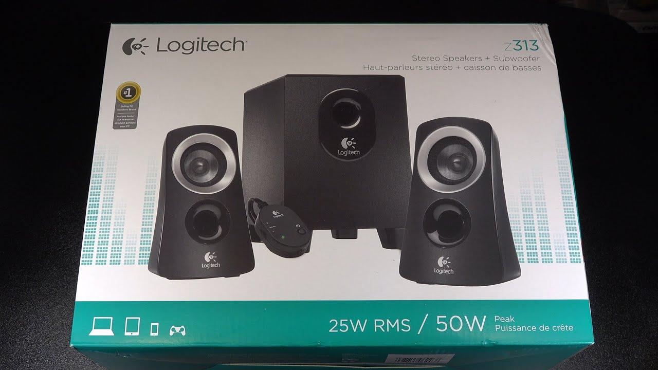 1b29e1311f5 Logitech - Z313 2.1 - Channel Speaker System (3-Piece) - Black/Silver  :UnBoxing
