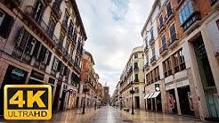 Coronavirus turns Malaga, Spain into ghost town | COVID-19 Quarantine City Walk 4K