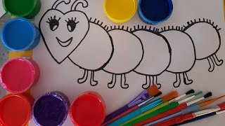 learn colors/how to draw caterpillar for kids/learn caterpillar painting page for children