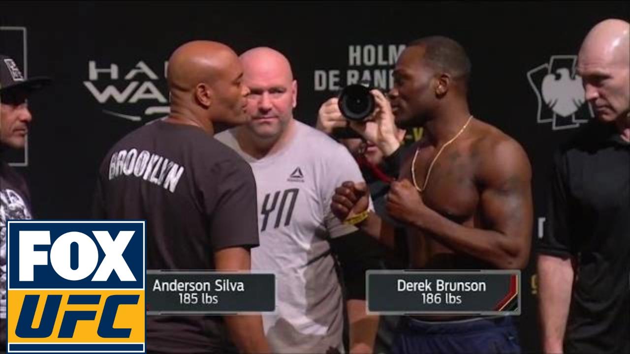 Anderson Silva Vs Derek Brunson Weigh In Ufc On Fox Youtube