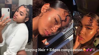 SLAYING HAIR + EDGES COMPILATION🥵💕 !!
