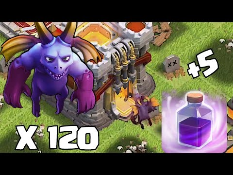 Clash Of Clans - NEW MINION LVL 7 X 120 MASS ATTACK!!! (New Update December 2015)