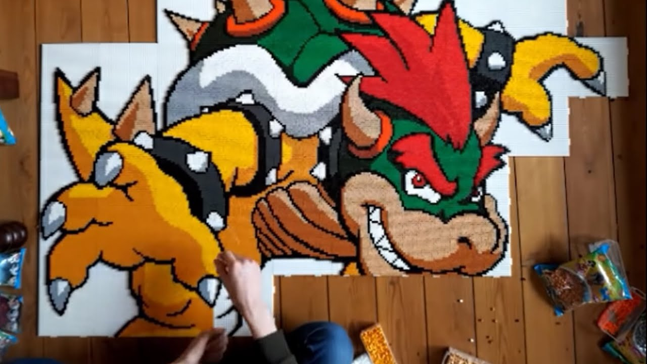 bowser pixel art out of 35 000 perler beads in time lapse youtube