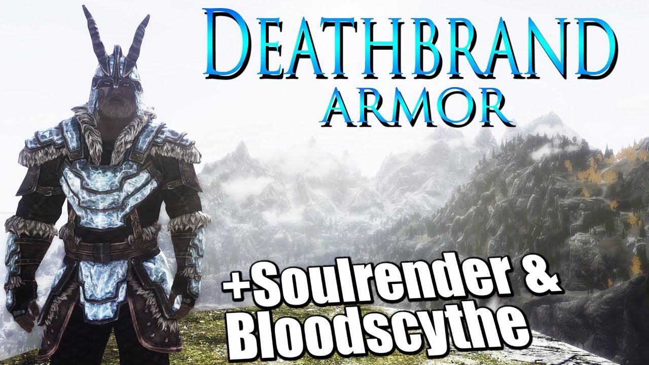 Skyrim Dragonborn Deathbrand Armor And Soulrender Bloodscythe